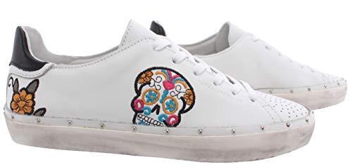 Rebecca Minkoff Chaussure Femme Sneakers 00MS NA01 Michell Skull Nappa White New - Blanc, Cuir, 36, 3, 6