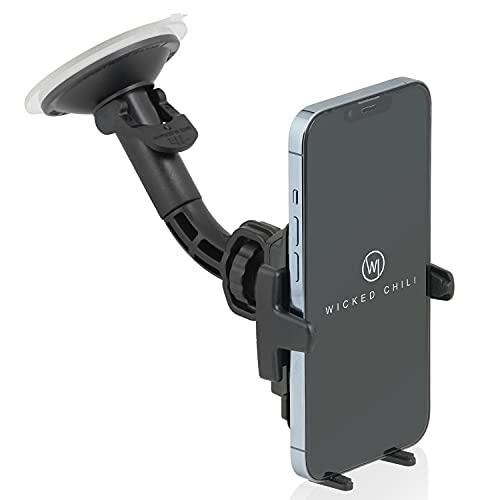 Wicked Chili Auto Halterung mit Kugelgelenk kompatibel mit iPhone 13/12 (Pro, Mini) SE 2020, 11 Pro, X, XS, 8 - KFZ Handy Autohalterung Scheibe (Made in Germany, Hülle und Hülle Friendly) schwarz