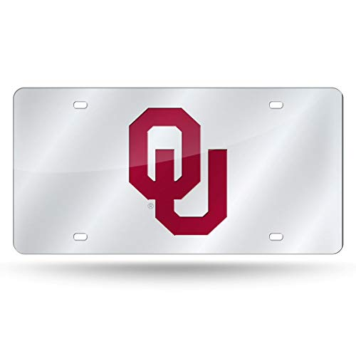 Rico Industries Unisex's Oklahoma Sooners License Plate Laser Cut Silver, Team Colors, One size