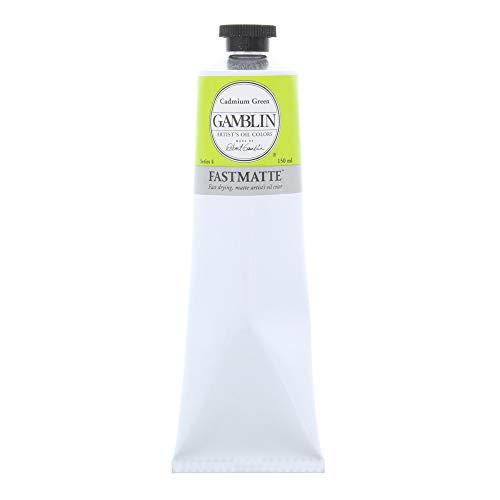 Gamblin Artist Paint, FastMatte Alkyd Colors, Fast Drying Oil Paint, Cadmium Green, 150ml Tube