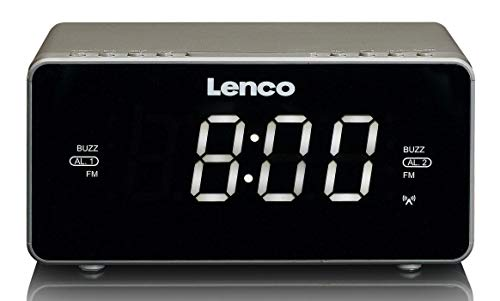 Lenco Radiowecker CR-530 Stereo Funk Uhrenradio mit 2 Weckzeiten, 1,2 Zoll LED Display, dimmbar, Sleep-Timer, Schlummerfunktion, Aux-Eingang, Grau
