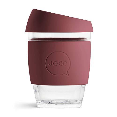 Joco Kaffeebecher aus Glas, wiederverwendbar, 340 ml Rubinwein