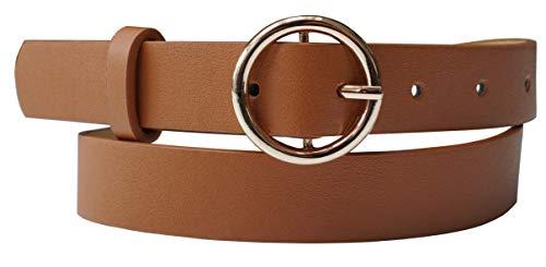 EANAGO - Cinturón para mujer de piel sintética con hebilla dorada, color marrón claro Ancho: 2,4 cm. marrón claro 85