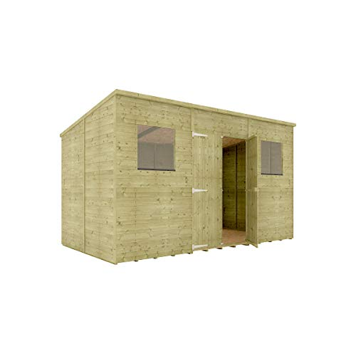 12 x 6 Pressure Treated Hobbyist Pent Shed Tongue & Groove Shiplap Cladding Construction Central Door OSB Floor Wooden Garden Shed 3.65m x 1.82m