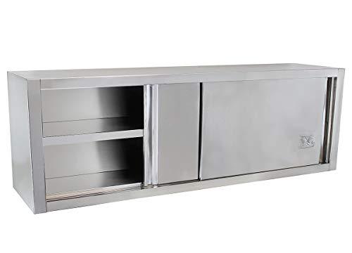 Beeketal 'BWS200' Gastro Küchen Wandhängeschrank aus Edelstahl mit auf Rollen gelagerte Schiebetüren, Hängeschrank mit fest verbautem Einlegeboden - Außenabmessungen (L/B/H): ca. 2000 x 400 x 650 mm