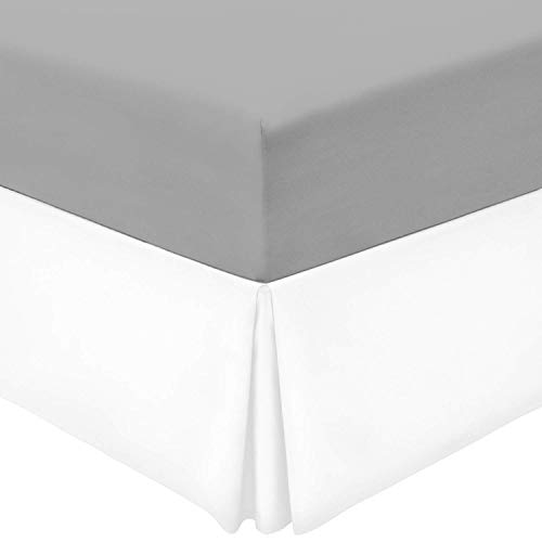 SRP Bedding Real 210 Thread Count Split Corner Bed Skirt / Dust Ruffle Twin Extra Long Size Solid White 16' inches Drop Egyptian Cotton Quality Wrinkle & Fade Resistant