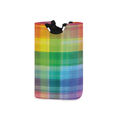 COFEIYISI Wäschesammler Wäschekorb Faltbarer Aufbewahrungskorb,DIY Vintage Regenbogen Retro Plaid Design Karierte Quadrate Farbige geometrische Muster,Wäschesack - Wäschekörbe - Laundry Baskets