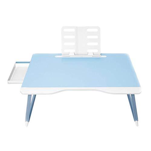 GZQDX opvouwbare blauwe laptop tafel, laptop bureau voor bed, draagbare tafel lade met opvouwbare benen, voor lezen schrijven op bed bank vloer