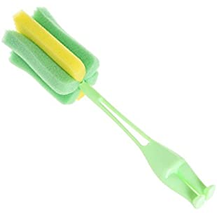 Gaddrt Kitchen Handle Sponge Brush Bottle Cup Glass Washing Cleaning Cleaner Tool - 24x5cm Green:Wenstyle