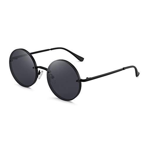 GLINDAR Gafas de Sol Redondas Retro Para Hombres y Mujeres Gafas de Sol Circulares Hippie Montura Negra / Lente Gris