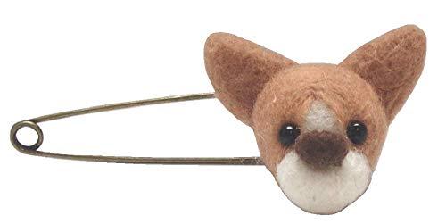 【 1点もの 】ハンドメイド 羊毛フェルト 羊毛 フェルト ストールピン ブローチ クリップ 服飾雑貨 犬 コーギー 限定品 完成品 Y-121 (コーギー1個 )