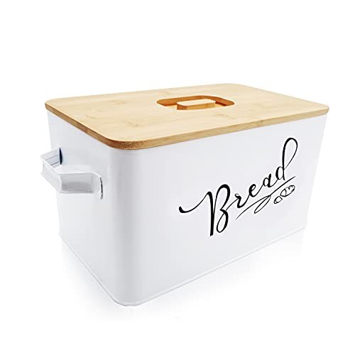 BOKUGE Extra Large Bread Box for Kitchen Countertop, White Metal Bread Storage Box with Eco Bamboo Cutting Board Lid, Farmhouse Bread Container Box Keeps Bread Fresher for Longer