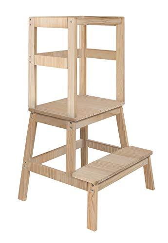 BOMI® Kinder Tritthocker mit 2 Stufen Swubi | Treppchen für Kinder unbehandelt | Stockerl für Kind & Baby aus Holz | Schemel, Waschbecken Hocker | Kinderhocker für Mädchen & Jungen