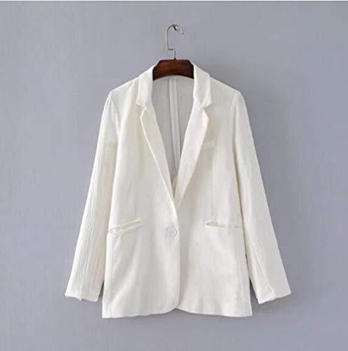 WJMM Blazers Femme Col Entaillé Dos Fente Mi Longue Rides Blazer Automne Femme Blanc Un Bouton Costume Veste Manteau Survêtement, S