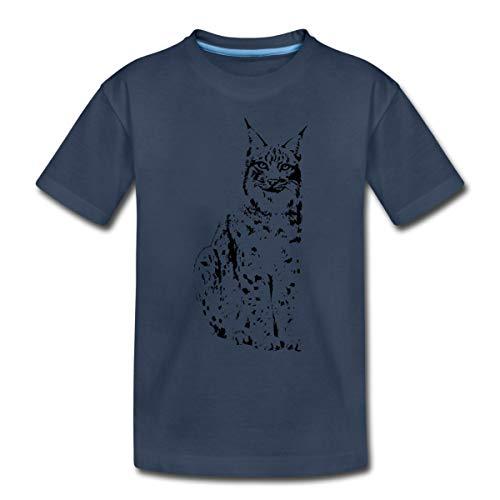 luchs Lynx Cougar wild cat Katze Raubtier löwe Tiger Wolf Kinder Premium T-Shirt, 134-140, Navy
