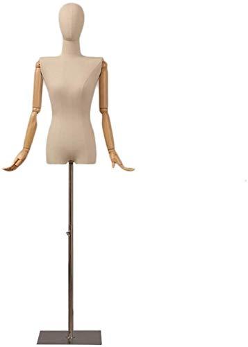 HongLianRiven Sastres maniquí Femenino del maniquí Torso con la Cabeza de la Forma del Vestido de Costura de Ropa Ajustada o maniquí de Altura Ajustable Ropa Formas 63.8' - 82.7' (Size : with Head)