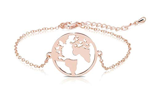 Elegante braccialetto con ciondolo con mappa del mondo