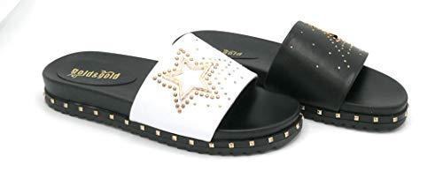 Gold und Gold JB816 Steckdosenleiste aus Kunstleder weiß schwarz Accessoires vergoldet - Schuhgröße 37 Farbe Weiß