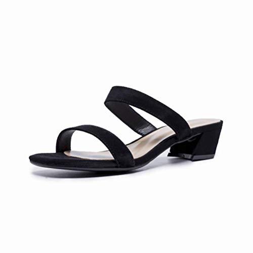 Women Sandals Sandales Femme Été Noir Mot Talon Haut avec des Chaussures à Bout Ouvert Épais avec des Sandales Chaussures Femme Romaine, Black, 38
