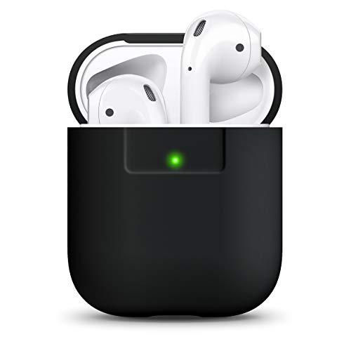 elago AirPods Silikonhülle Kompatibel mit Apple AirPods 1 & 2 - Unterstützt Kabelloses Laden, Stoßfeste Schutzhülle, Perfekter Sitz (Schwarz)