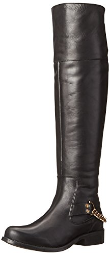 Steve Madden Women's Olgga Motorcycle Boot,Black/Gold,6.5 M US