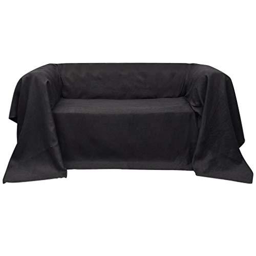 Micro-Suede Sofaüberwurf Tagesdecke Anthrazit 210 x 280 cm, Sofa Schutz Abdeckung Couch Schonbezug Sofaüberwurf