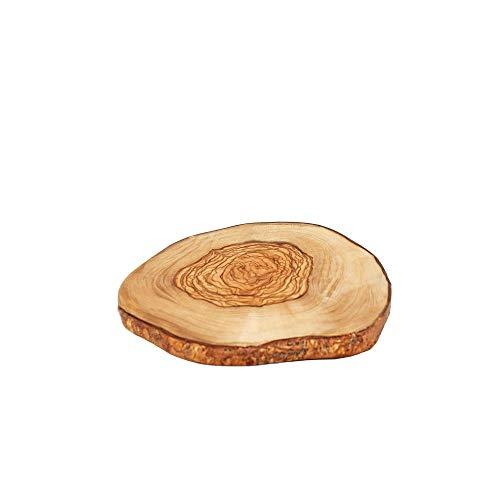 NATUREHOME Olivenholz Brett mit Rinden Baumscheibe rustikal - Ø 7-12 cm mediterane Rindenscheibe rund Deko Untersetzer Schneidebrett