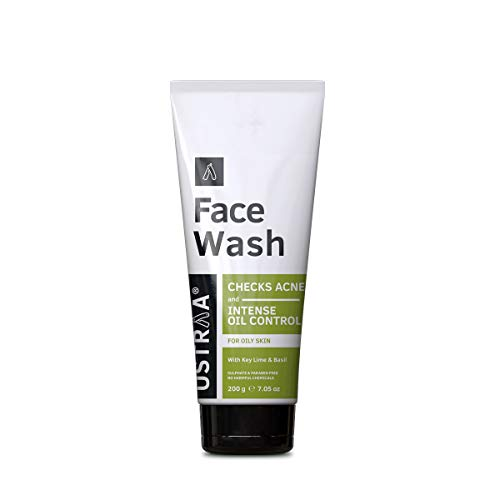Ustraa Face Wash – for Oily skin – 200g – With Basil & Lime – For Ane-Prone Skin, No Sulphate & Paraben, Checks Acne and Blackheads