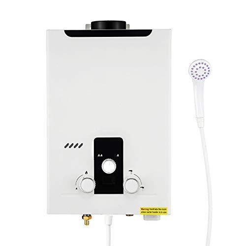 Stoge 6L Gas-Warmwasserbereiter LPG-Warmwasserbereiter mit Duschkopf-Kit, für Winterheizung, Haus-/Außenwäsche