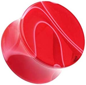 Covet Jewelry Marble Swirl Acrylic Double Flared Ear Gauge Plug