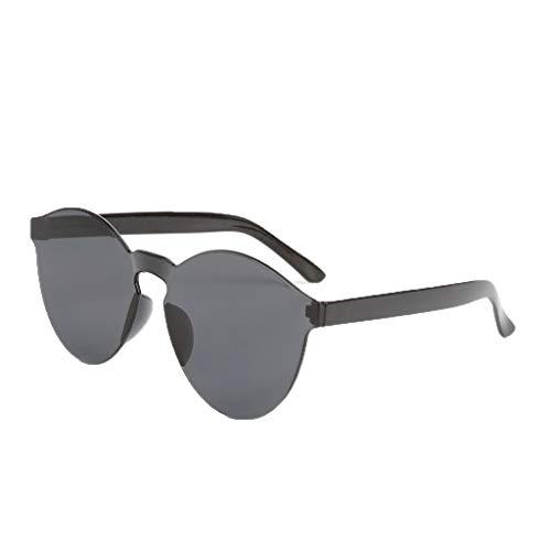 Lazzboy Randlose Transparente Brille Europa Und Amerika Candy Color Paar Sonnenbrillen Runde Hippie Sonnenbrille John 60's Stil Kreis Farbige Gläser(E)