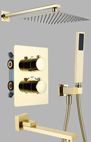LXUNIA Oro o Oro Cepillado u Oro Rosa Latón Interruptor de Control termostático Grifos de válvula mezcladora Tina Oculta de 10 Pulgadas, Cepillo de Tres vías Dorado