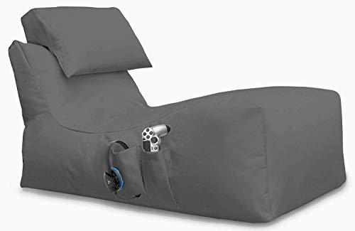 Giant Bag Lying Beanbag Gaming Sitzsack ohne Hocker, für XBOX360, XboxOne, PS4, Nintendo Switch, Smartphone, Nintendo DS, Made in Germany, mit Seiten Tasche (Anthrazit, 116 x 60 x 60 cm)