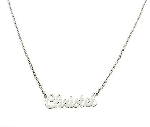 Collana con nome personalizzabile a richiesta in argento 925 sterling placcato oro bianco