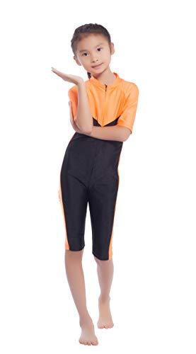 GladThink Mädchen One Piece Muslim-Badeanzug mit der halbe Hülsen ORANGE L
