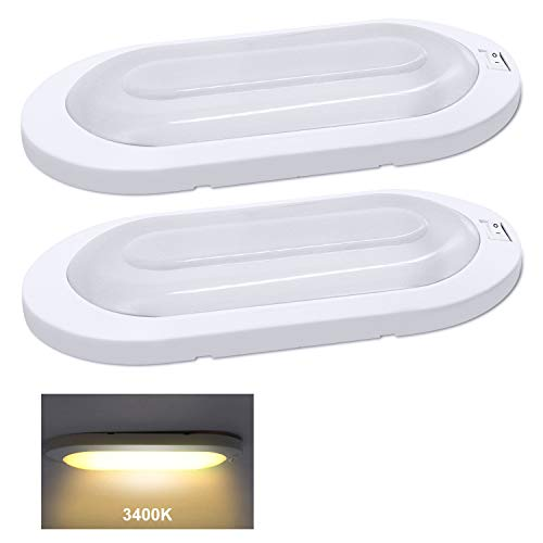 Facon Classic Style LED Bright Pancake Light Surface Mount Spotlight Fixtures 12 Volt Interior Ceiling Dome Light with On/Off Switch for RV Motorhomes Camper Caravan Trailer Boat (Pack of 2, White)