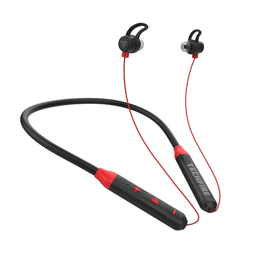 Techfire Fire 100 Bluetooth 5.0 Wireless Headphones with Hi-Fi Stereo Sound, 10Hrs Playtime, Lightweight Ergonomic Neckband, Sweat-Resistant Magnetic Earbuds, Voice Assistant & Mic (Red)