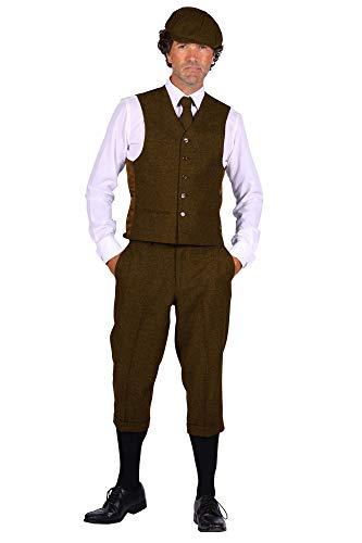 shoperama 20er Jahre Peaky Blinders Anzug Knickerbocker Herren-Kostüm BRAUN Hose Weste Schiebermütze, Größe:50