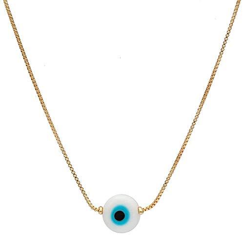 CXYCXY Co.,ltd Collar Mariposa Mano De Fátima Azul Turco Mal De Ojo Collar Color Dorado Cobre Colgante Redondo Collar para Mujeres Y Niñas 45 Cm