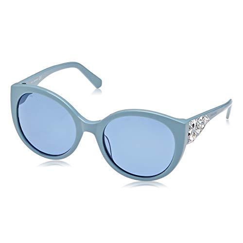Swarovski SK0174-5784V Gafas, Shiny Light Blue/Blue, 57/21/140 para Mujer