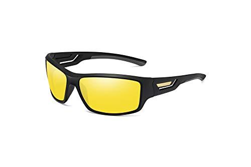 Skevic Polarisierte Sportbrille Sonnenbrille Herren und Damen TR90 Fahrradbrille mit UV400 Schutz - Radbrille für Autofahren Running Skifahren Fischen Radfahren Wandern Golf (Schwarz/Gelb)
