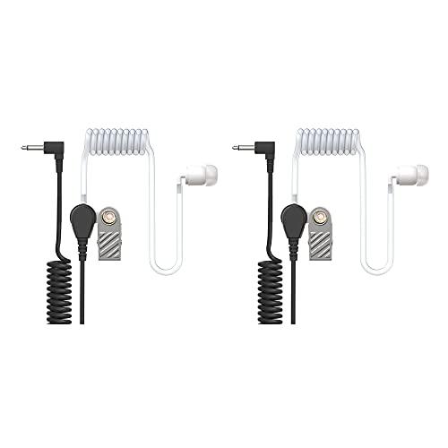 Ohrhörer Schallschlauch - 3,5mm Klinke - One Ear - transparent inkl. Halteclip - Kopfhörer Headset für Funkgeräte | 2er Set