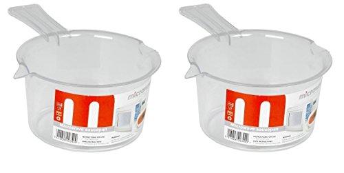 2 cacerolas de plástico para microondas de 500 ml, color blanco sin tapa.
