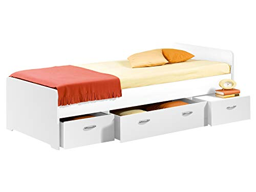 möbelando Bett Einzelbett Bettrahmen Kojen-Bett Bettgestell Jugendbett Bradford I Weiß