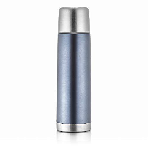 reer Edelstahl Isolier-Flasche COLOUR, 500ml – klein, handlich, ideal fürs Baby, mit integriertem Becher, anthrazit