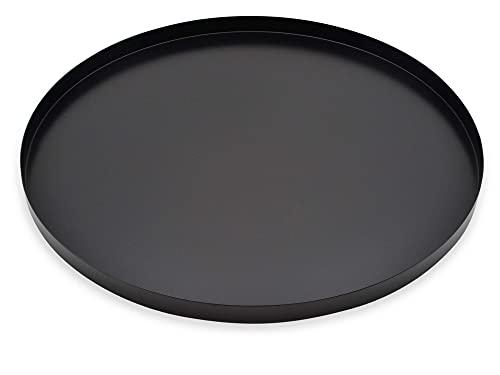 D&D Living Deko Tablett Rund Ø 40 cm | Design Dekoteller und Dekotablett aus Metall (Schwarz matt)