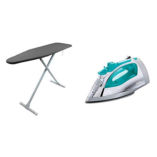 HOMZ Ironing Board T-Leg, Charcoal Grey & Sunbeam Steammaster Steam Iron | 1400 Watt Large Anti-Drip Nonstick Stainless Steel Iron with Steam Control and Retractable Cord, Chrome/Teal