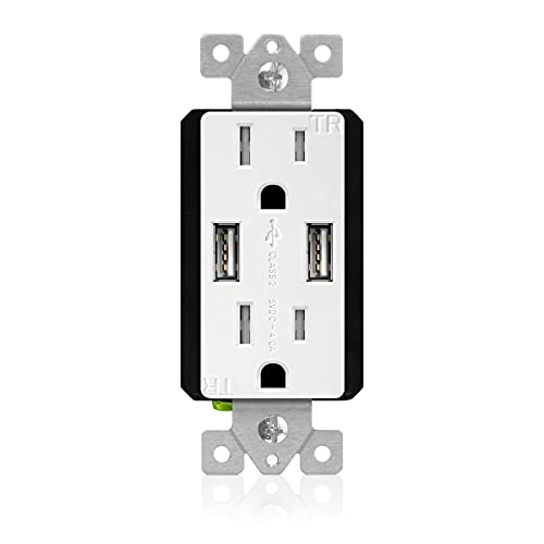 TOPGREENER - TU2154A-W-STICKERED TU2154A-W High Speed USB Charger Outlet, USB Wall Charger, Electrical Outlet with USB, 15A TR Receptacle, Screwless Wall Plate, for iPhone X, iPhone 8 / 8 Plus, Samsung Galaxy and more, TU2154A, White