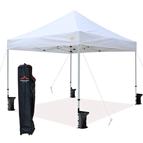 UNIQUECANOPY 10'x10' Ez Pop Up Canopy Tent Commercial Instant Shelter with Heavy Duty Roller Bag, 4 Canopy Sand Bags, 10x10 FT White