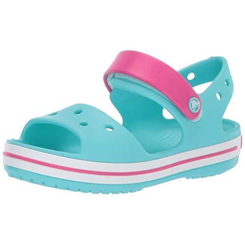 Crocs Crocband Sandal Kids, Sandali con Cinturino alla Caviglia Unisex – Bambini, Blu (Pool/Candy Pink), 27/28 EU